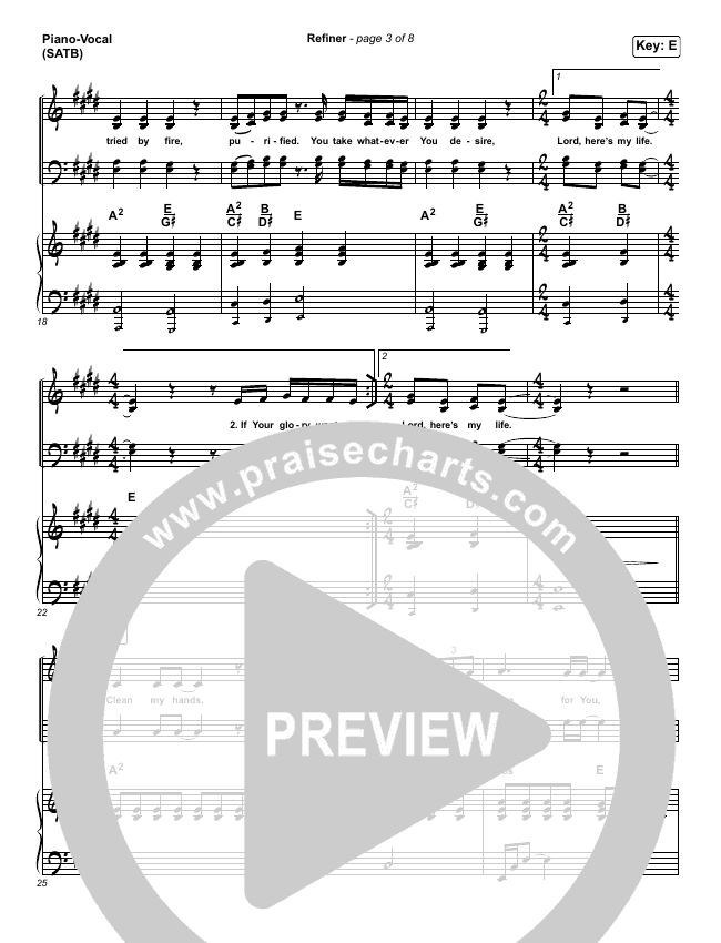 Refiner Piano/Vocal (SATB) (Maverick City Music / Steffany Gretzinger)