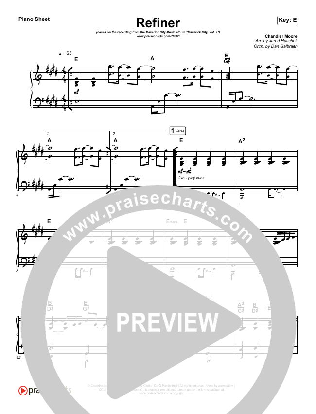Refiner Piano Sheet (Maverick City Music / Steffany Gretzinger)