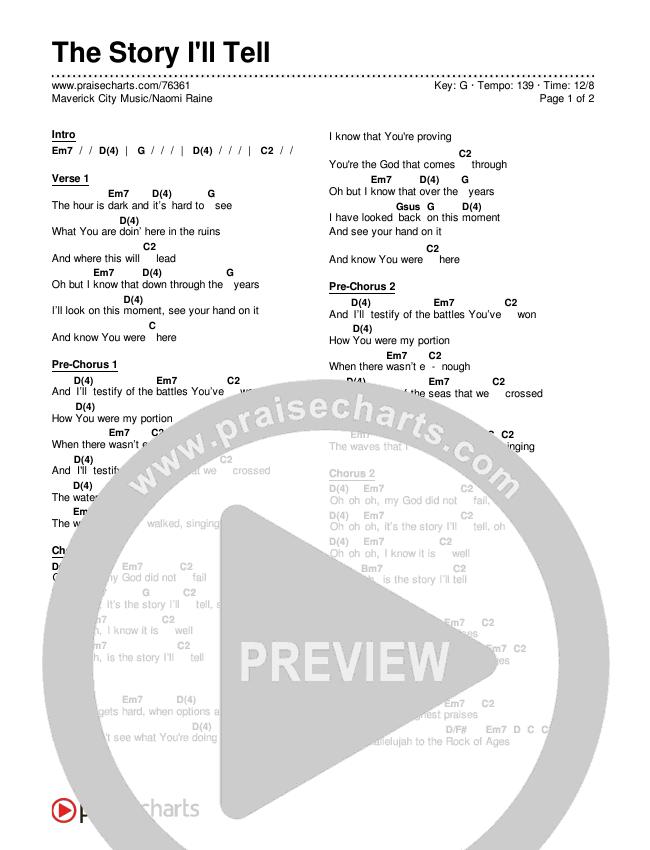 The Story I'll Tell Chords & Lyrics (Maverick City Music / Naomi Raine)
