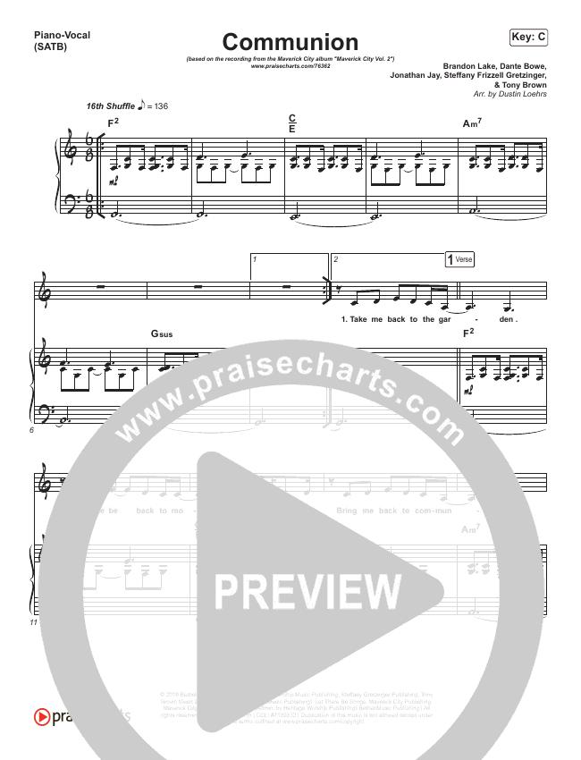 Communion Piano/Vocal (SATB) (Maverick City Music / Steffany Gretzinger / Brandon Lake)
