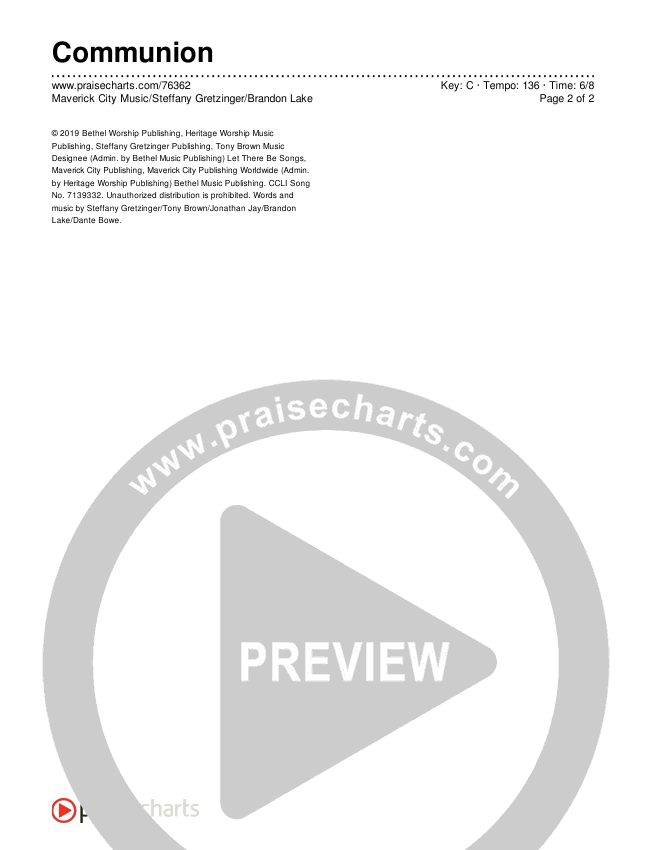 Communion Chords & Lyrics (Maverick City Music / Steffany Gretzinger / Brandon Lake)