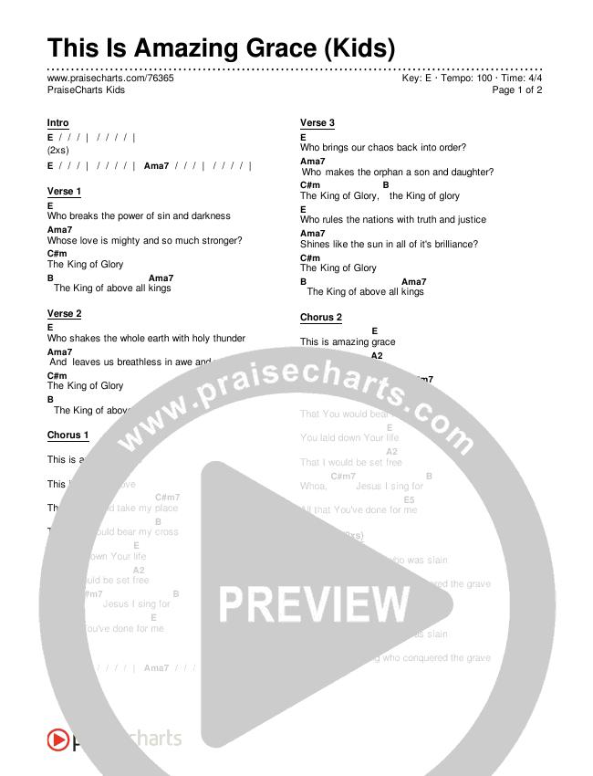 This Is Amazing Grace (Kids) Chords & Lyrics (PraiseCharts Kids / Arr. Luke Gambill)