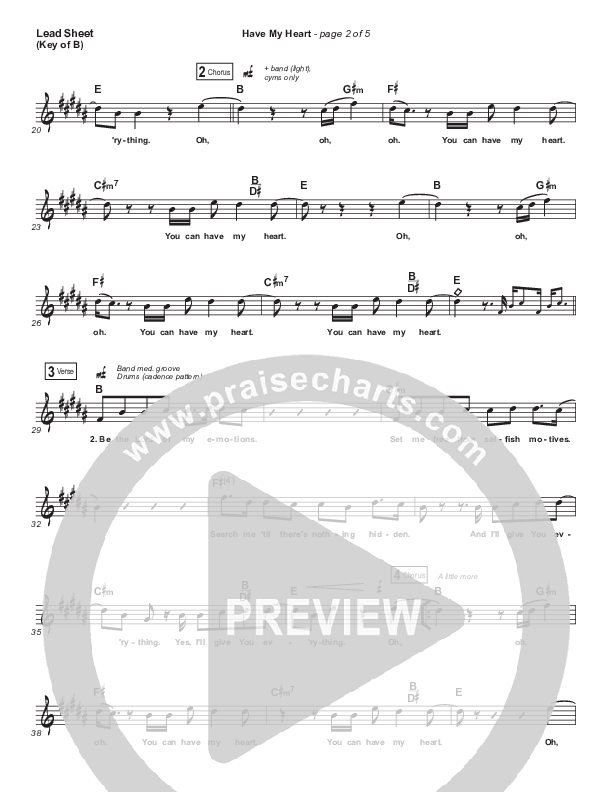 Have My Heart Lead Sheet (Melody) (Maverick City Music / Chris Brown / Chandler Moore)
