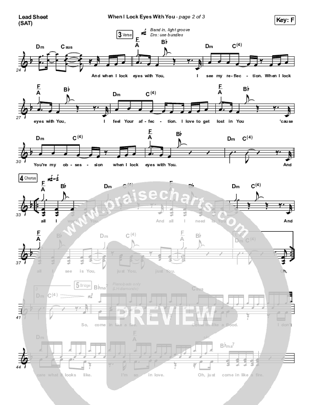 When I Lock Eyes With You Lead Sheet (SAT) (Maverick City Music / UPPERROOM / Abbie Gamboa / Naomi Raine / Joel Figueroa)
