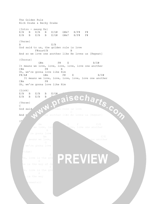 The Golden Rule Chord Chart (Nick & Becky Drake / Worship For Everyone)