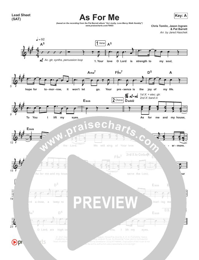 As For Me Lead & Piano/Vocal (Pat Barrett / Chris Tomlin)