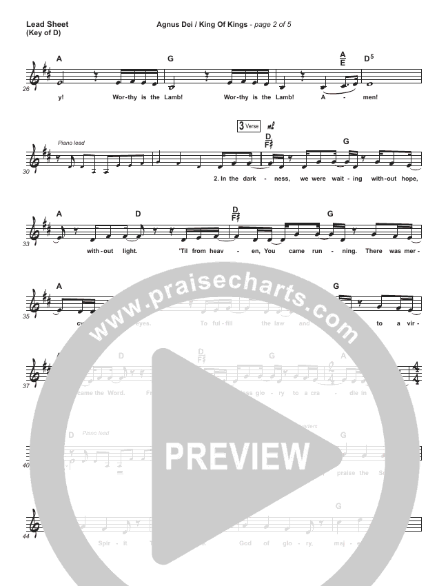 Agnus Dei / King Of Kings Lead Sheet (Melody) (Hillsong Worship / Chidima / Passion / Jenn Johnson / Brooke Ligertwood)