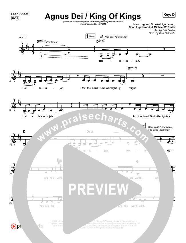 Agnus Dei / King Of Kings Piano/Vocal Pack (Hillsong Worship / Chidima / Passion / Jenn Johnson / Brooke Ligertwood)