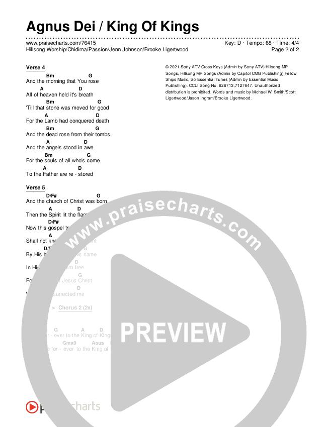 Agnus Dei / King Of Kings Chords & Lyrics (Hillsong Worship / Chidima / Passion / Jenn Johnson / Brooke Ligertwood)