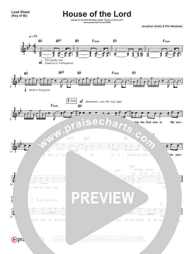 House Of The Lord Lead Sheet (Melody) (Phil Wickham)