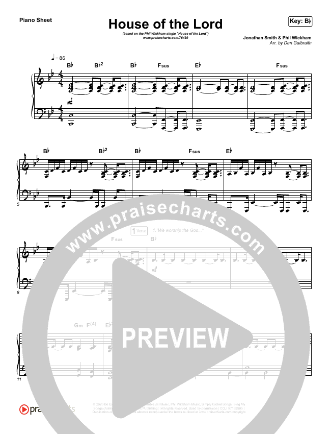 House Of The Lord Piano Sheet (Phil Wickham)
