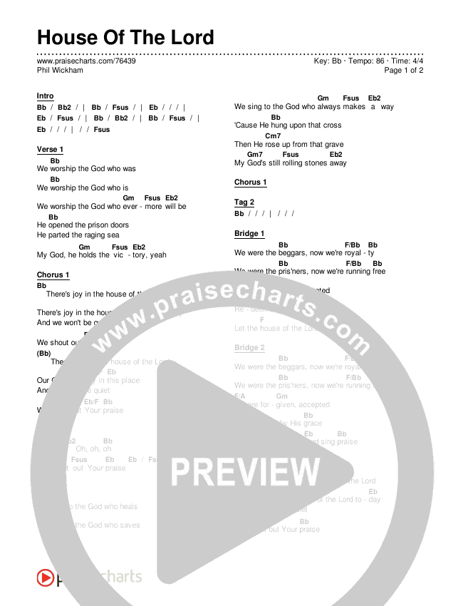 House Of The Lord Chords & Lyrics (Phil Wickham)