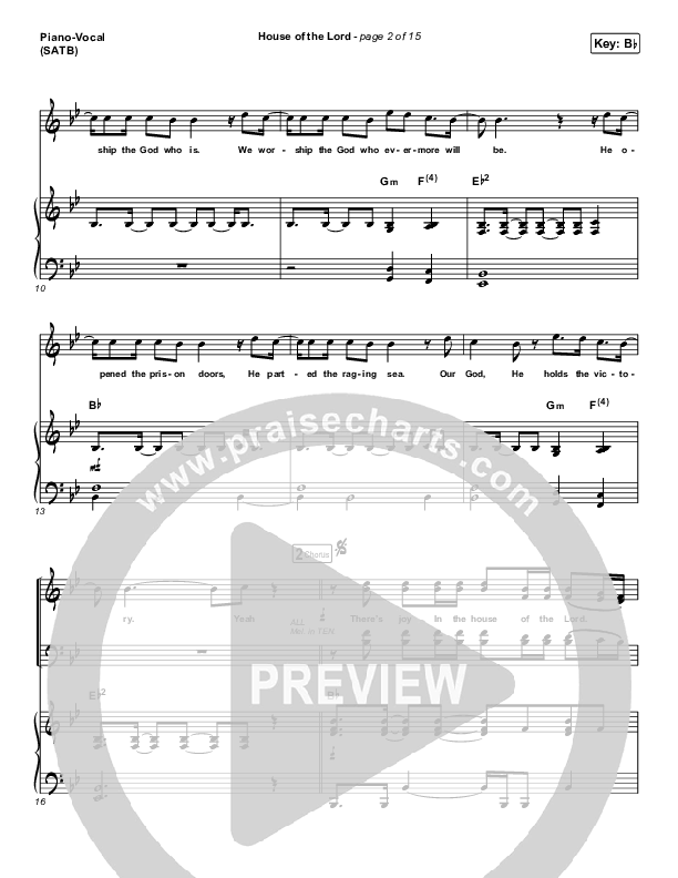 House Of The Lord Piano/Vocal (SATB) (Phil Wickham)