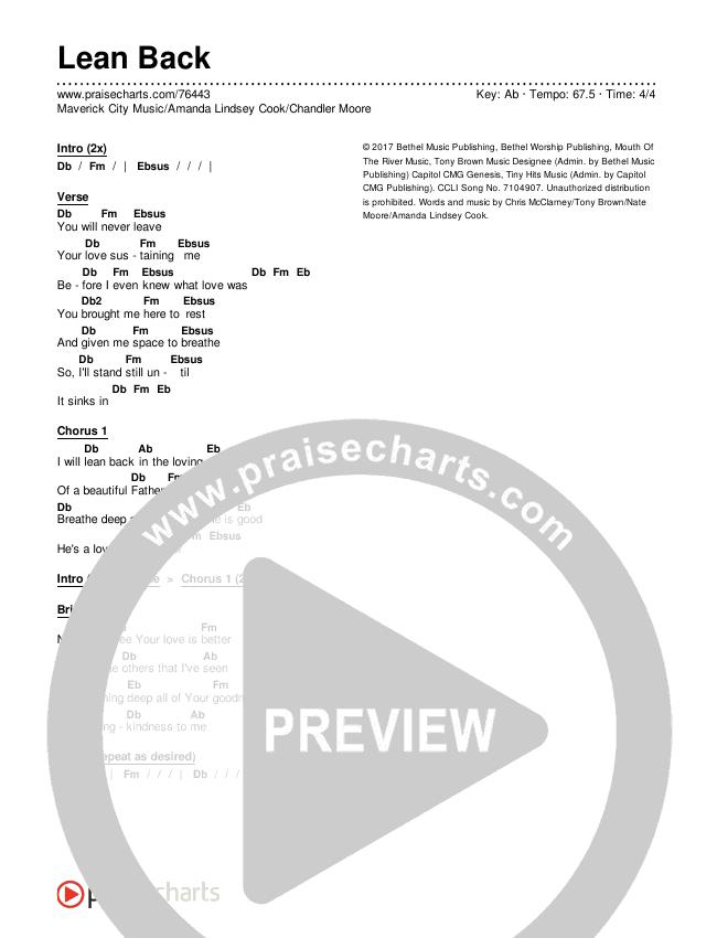 Lean Back Chords & Lyrics (Maverick City Music / Amanda Lindsey Cook / Chandler Moore)