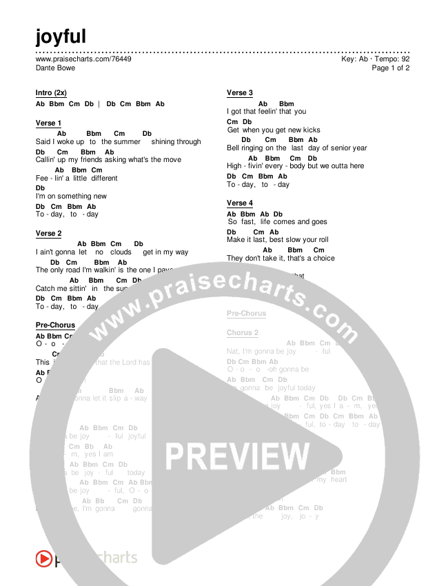 joyful Chords & Lyrics (Dante Bowe)
