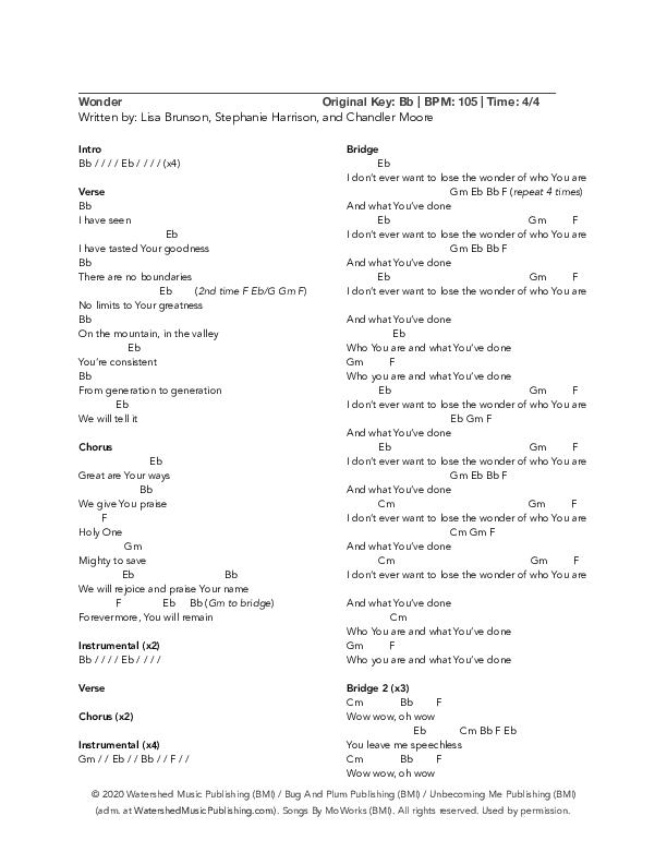Wonder Chord Chart (Lisa Brunson)