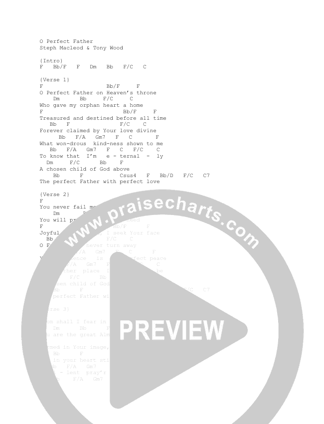 O Perfect Father Chord Chart (Steph Macleod)