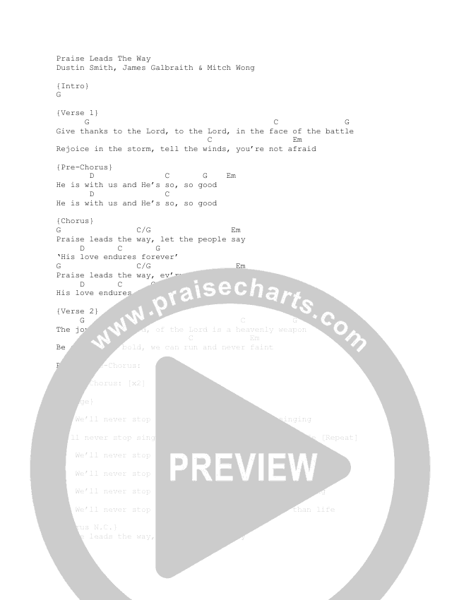 Praise Leads The Way Chord Chart (Here Be Lions)
