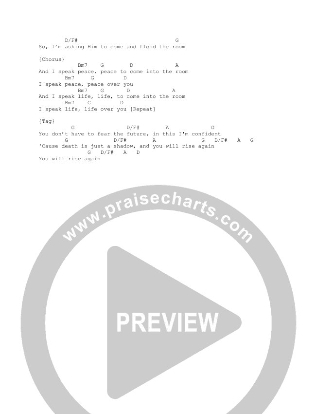 Peace Over You Chord Chart (Here Be Lions)
