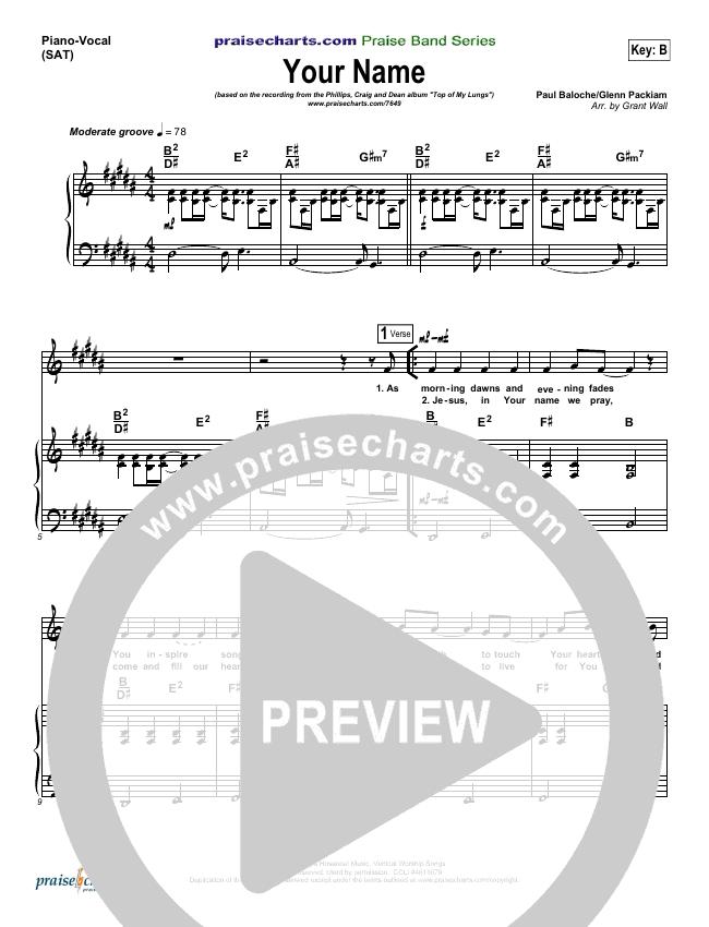 Your Name Piano/Vocal (SATB) (Phillips Craig & Dean)