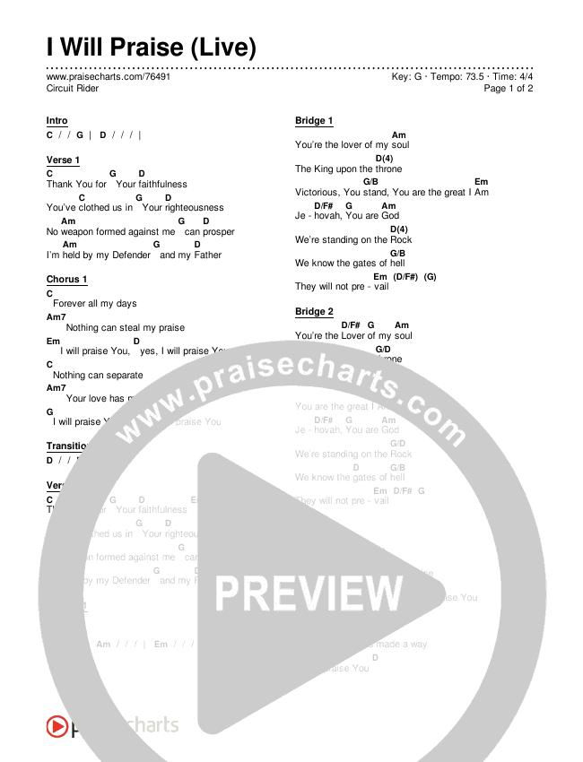 I Will Praise (Live) Chords & Lyrics (Circuit Rider Music)