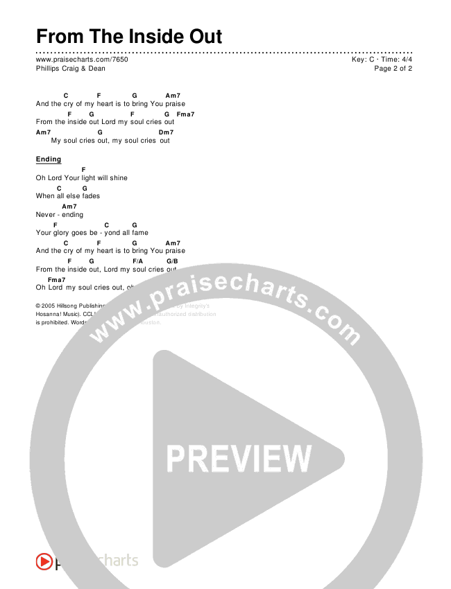 From The Inside Out Chords & Lyrics (Phillips Craig & Dean)
