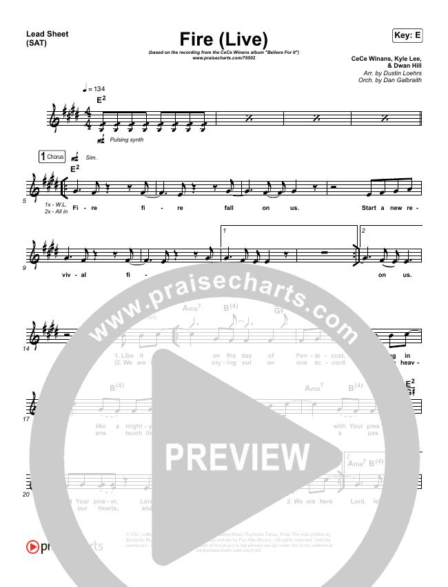 Fire Lead Sheet (SAT) (CeCe Winans)