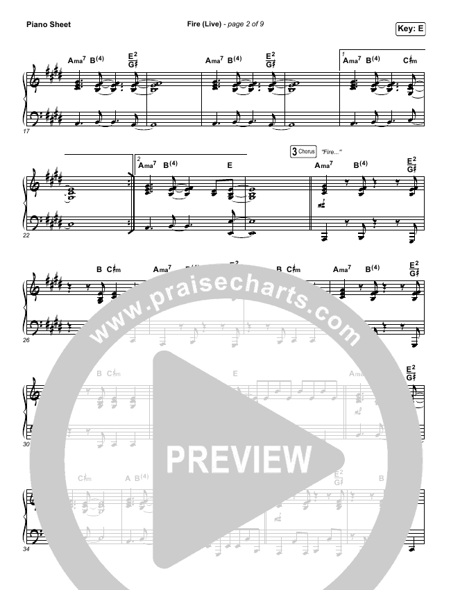 Fire Piano Sheet (CeCe Winans)