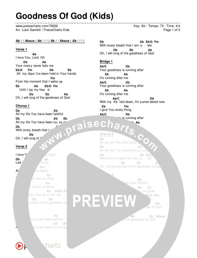 Goodness Of God (Kids) Chords & Lyrics (PraiseCharts Kids / Arr. Luke Gambill)
