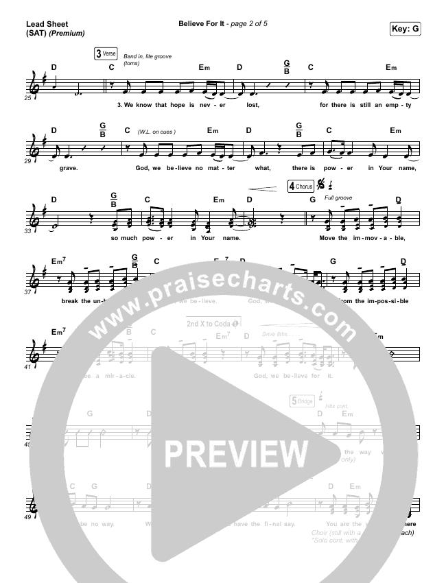Believe For It (Premium) Lead & Piano/Vocal (CeCe Winans / Arr. Cliff Duren)