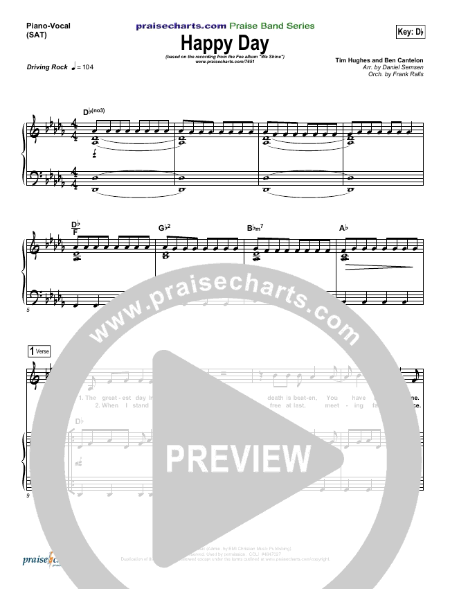 Happy Day Piano/Vocal (SATB) (FEE Band)