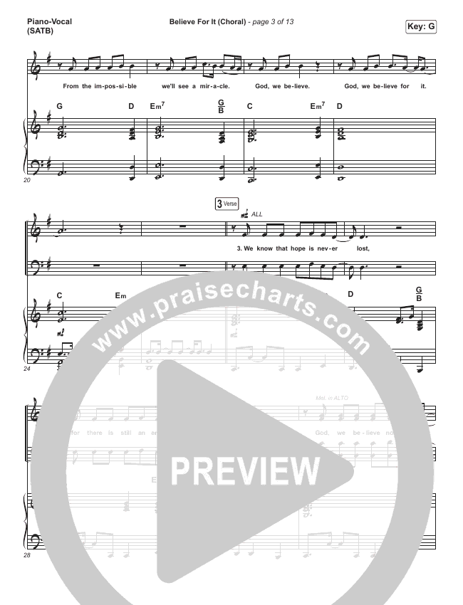 Believe For It (Choral) Orchestration (PraiseCharts Choral / CeCe Winans / Arr. Luke Gambill)
