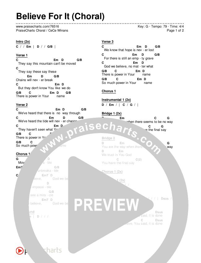 Believe For It (Choral) Chords & Lyrics (PraiseCharts Choral / CeCe Winans / Arr. Luke Gambill)