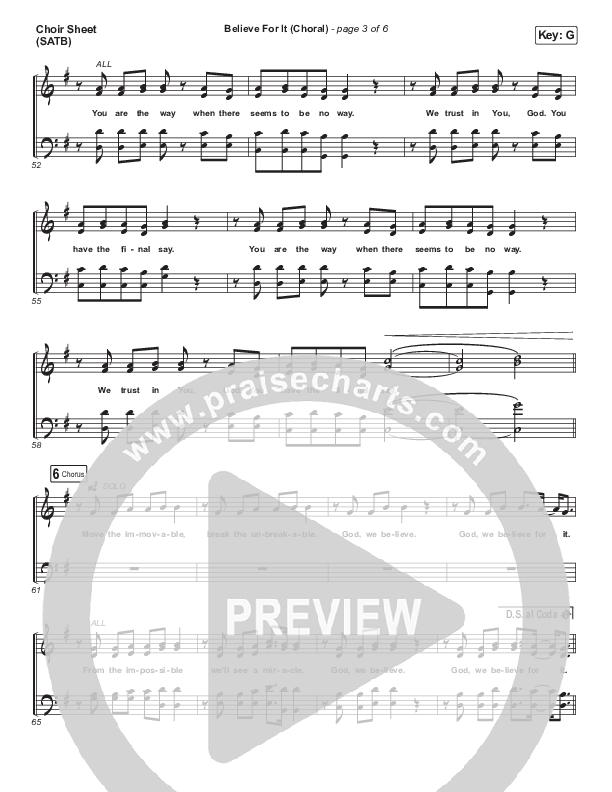 Believe For It (Choral) Choir Sheet (SATB) (PraiseCharts Choral / CeCe Winans / Arr. Luke Gambill)