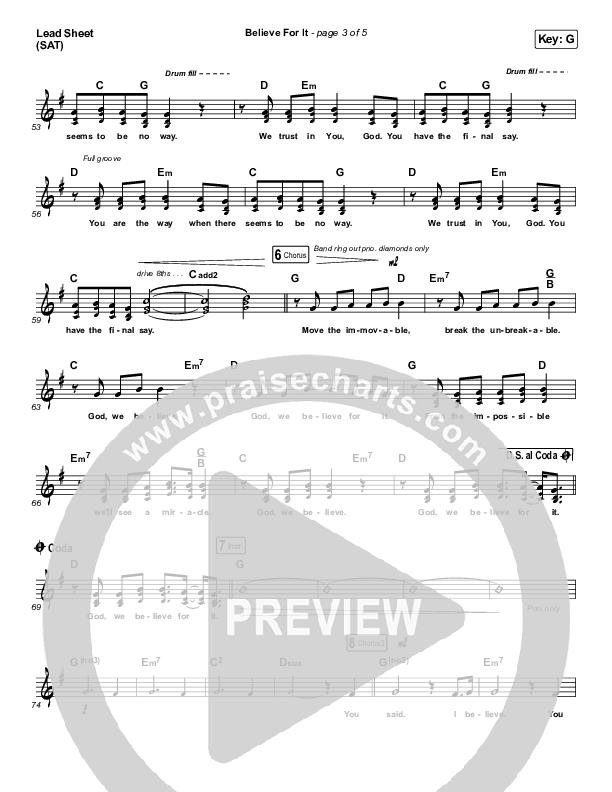 Believe For It (Choral) Lead Sheet (SAT) (PraiseCharts Choral / CeCe Winans / Arr. Luke Gambill)