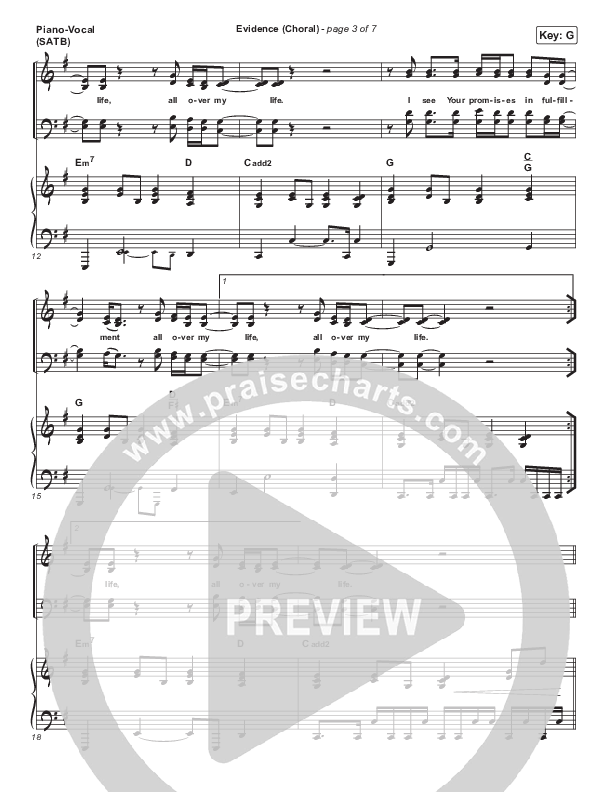 Evidence (Choral) Piano/Vocal (SATB) (PraiseCharts Choral / Josh Baldwin / Arr. Luke Gambill)