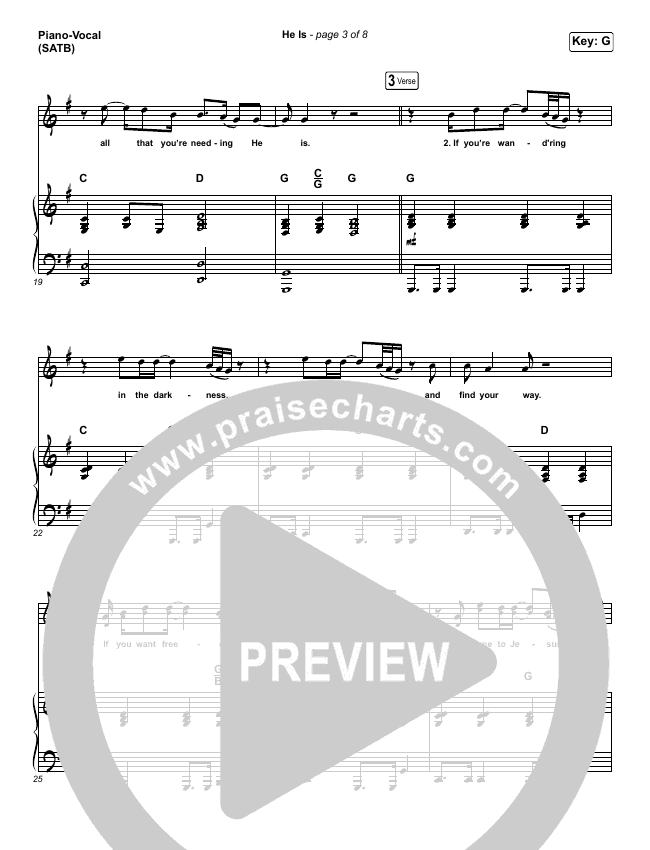 He Is Piano/Vocal (SATB) (Crowder)