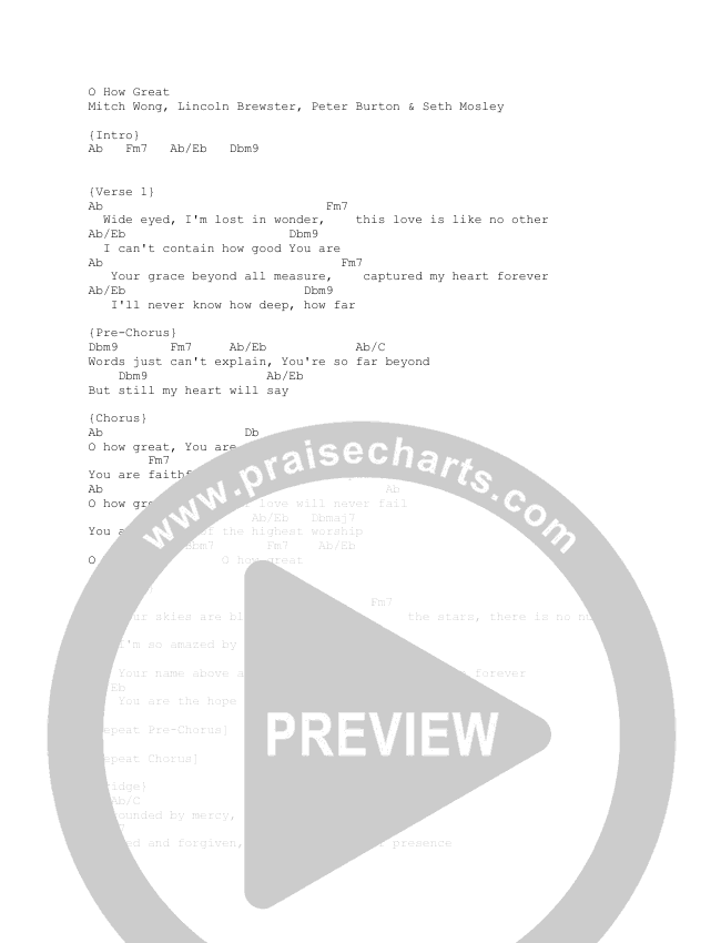 Oh How Great Chord Chart (Lincoln Brewster)
