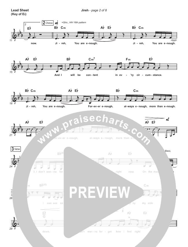 Jireh Lead Sheet (Melody) (Maverick City Music / Elevation Worship / Chandler Moore / Naomi Raine)