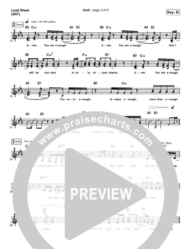 Jireh Lead Sheet (SAT) (Maverick City Music / Elevation Worship / Chandler Moore / Naomi Raine)