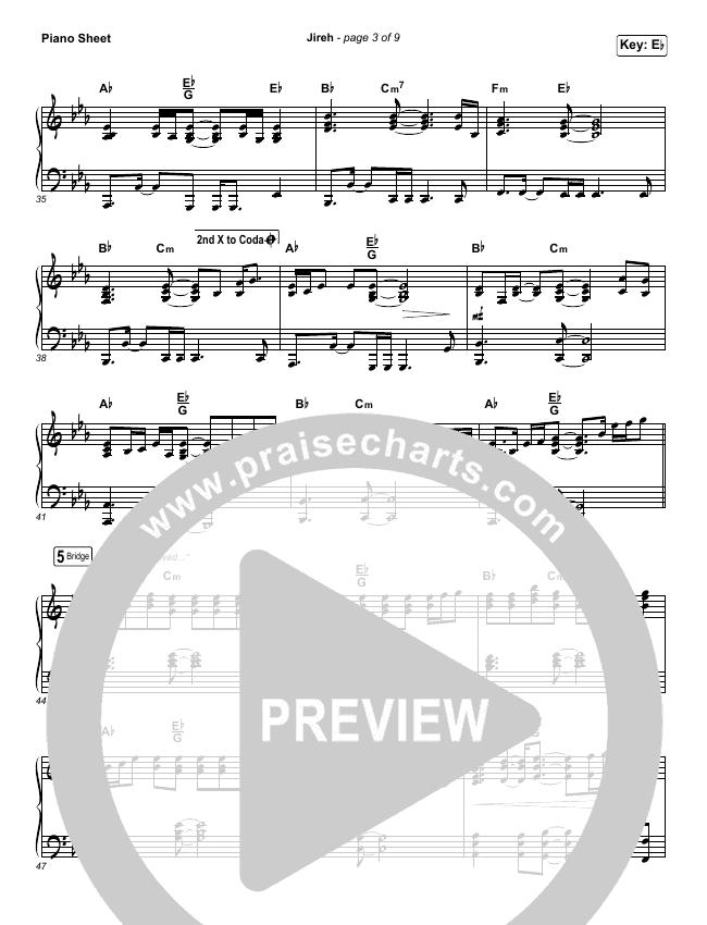 Jireh Piano Sheet (Maverick City Music / Elevation Worship / Chandler Moore / Naomi Raine)