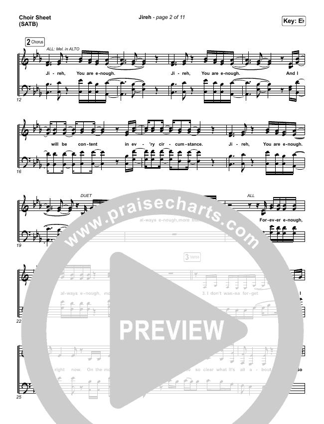 Jireh Choir Sheet (SATB) (Maverick City Music / Elevation Worship / Chandler Moore / Naomi Raine)