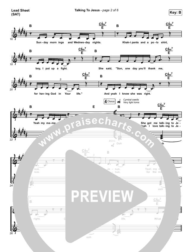 Talking To Jesus Lead Sheet (SAT) (Maverick City Music / Elevation Worship / Brandon Lake)