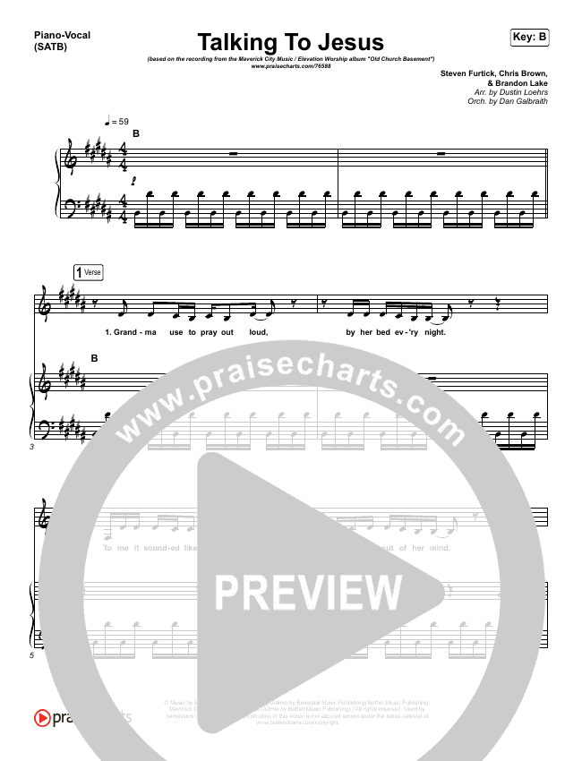 Talking To Jesus Piano/Vocal (SATB) (Maverick City Music / Elevation Worship / Brandon Lake)