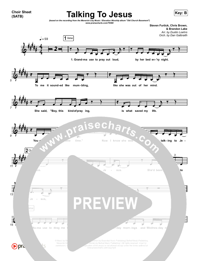Talking To Jesus Choir Sheet (SATB) (Maverick City Music / Elevation Worship / Brandon Lake)