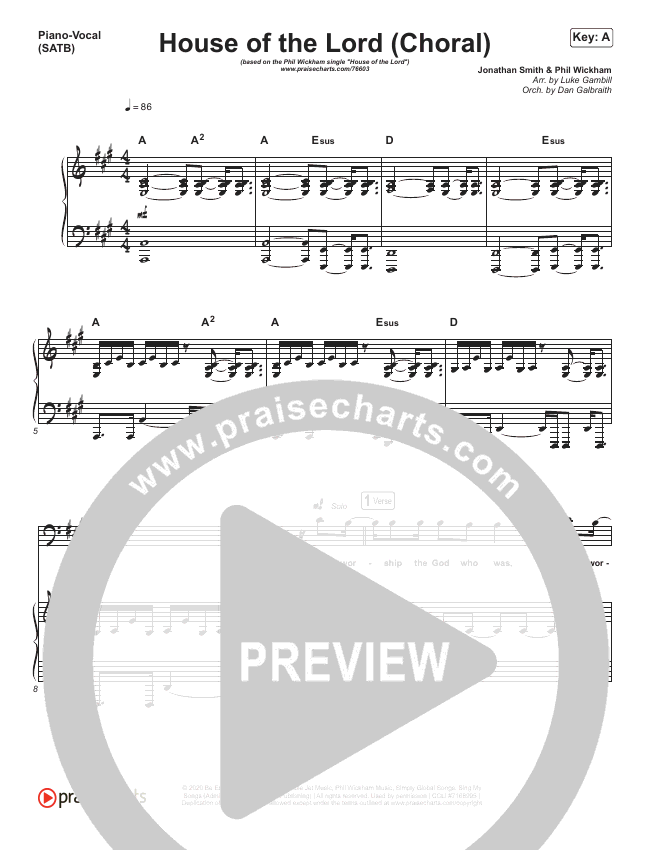 House Of The Lord (Choral) Piano/Vocal (SATB) (PraiseCharts Choral / Phil Wickham)