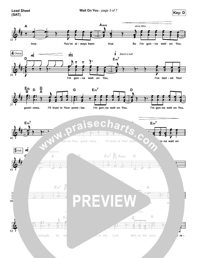 Wait On You Lead Sheet (SAT) (Maverick City Music / Elevation Worship / Dante Bowe / Chandler Moore)