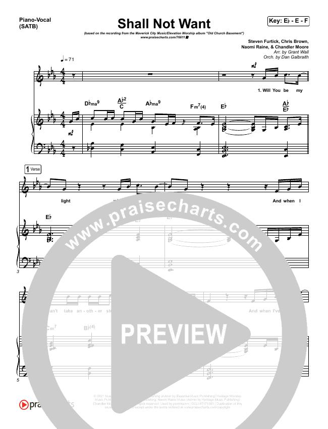 Shall Not Want Piano/Vocal (SATB) (Maverick City Music / Elevation Worship / Chandler Moore)