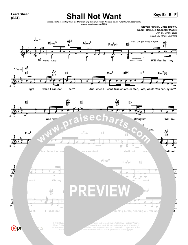 Shall Not Want Orchestration (with Vocals) (Maverick City Music / Elevation Worship / Chandler Moore)