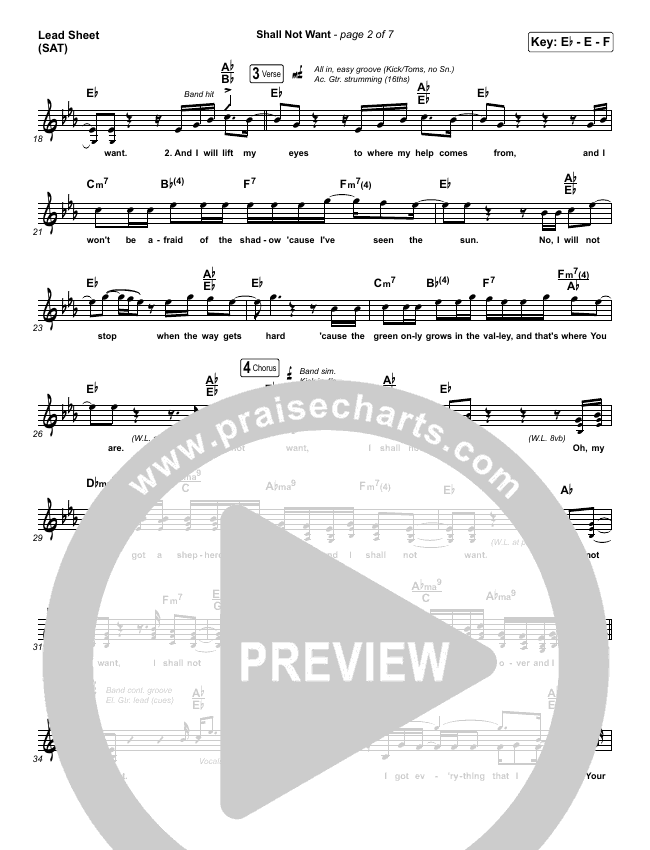 Shall Not Want Piano/Vocal Pack (Maverick City Music / Elevation Worship / Chandler Moore)